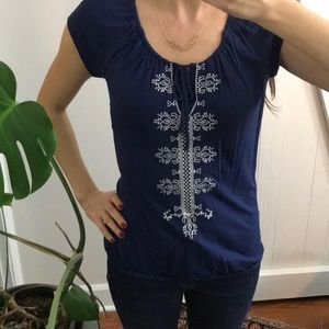 Tops - Navy embroidered tank elastic waist and tie front